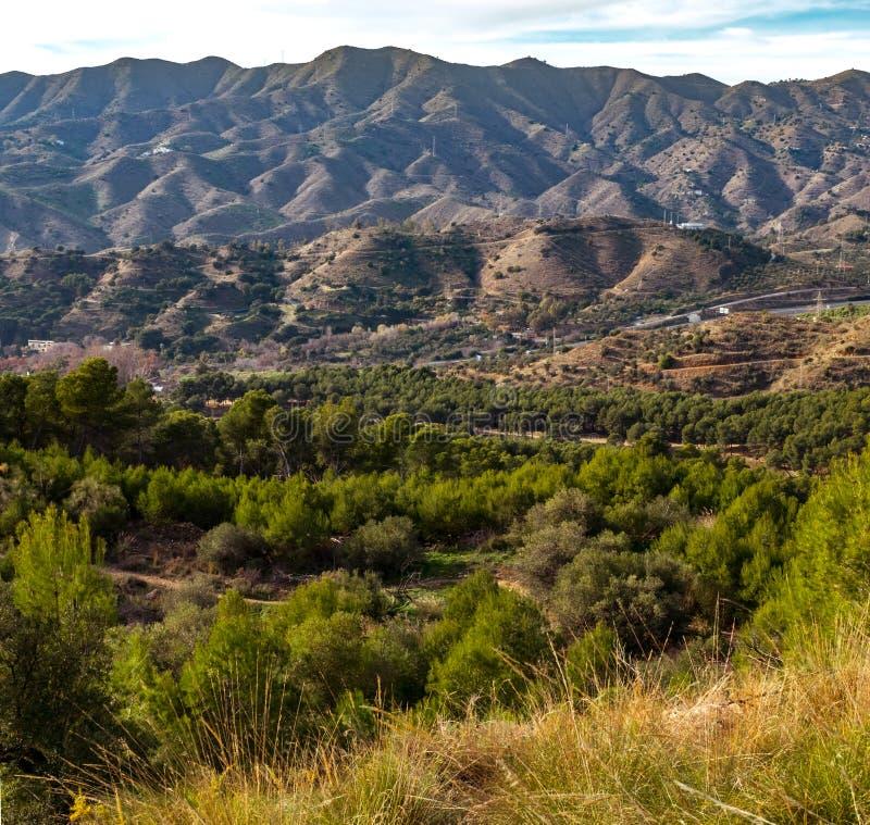 Panoramiczny widok nad Montes de Malaga zdjęcie royalty free