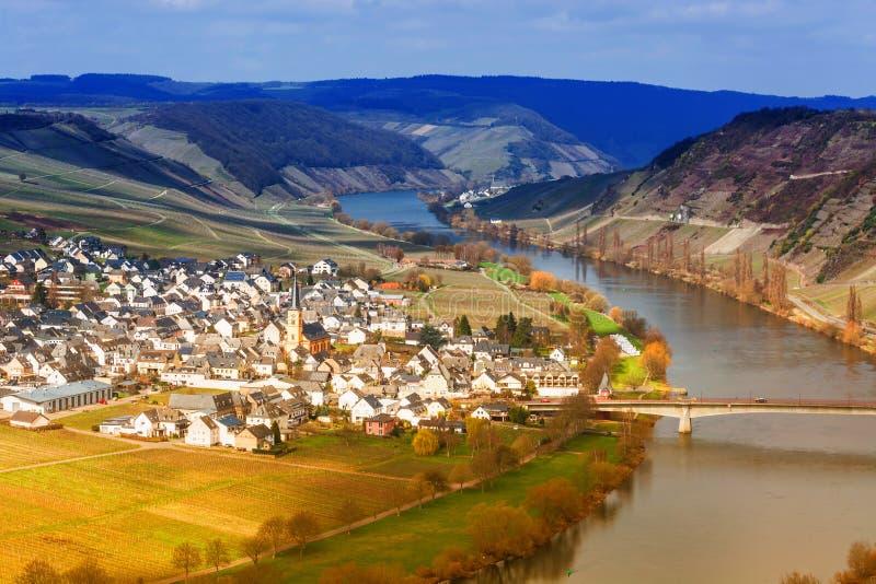 Panoramiczny widok nad Moselle doliną zdjęcia royalty free