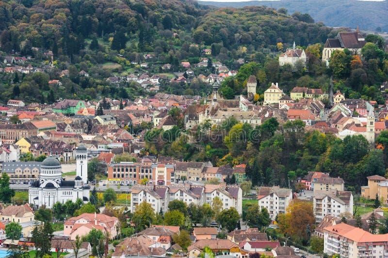 Panoramiczny widok nad Sighisoara miasteczkiem, Rumunia obraz royalty free
