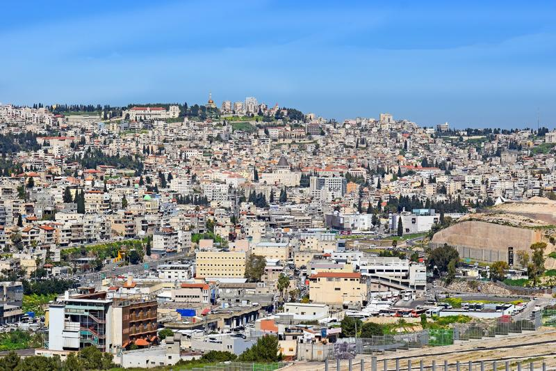 Panoramiczny widok Nazareth, Izrael zdjęcia stock