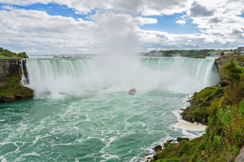 Panoramiczny widok Niagara siklawa, Kanadyjska podkowa Spada w Kanada fotografia stock