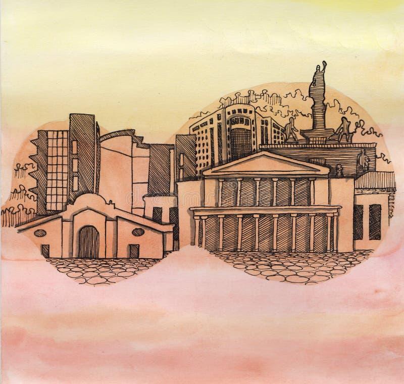 Panoramiczny widok Nikozja miasto Cypr kraj Europejski zjednoczenie royalty ilustracja