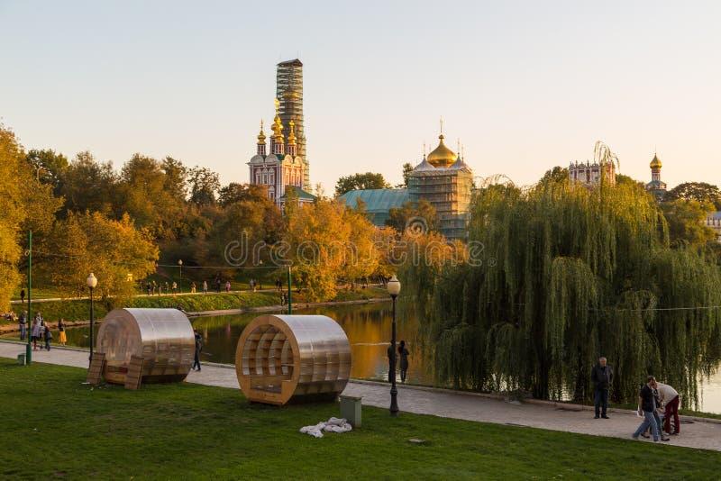 Panoramiczny widok Novodevichy klasztor, Rosja zdjęcie royalty free