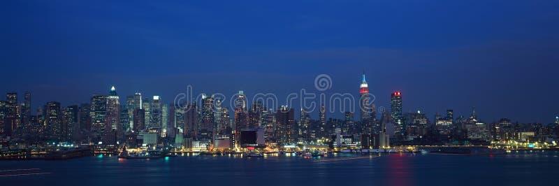 Panoramiczny widok, NY linia horyzontu z, hudsonem i schronieniem, strzał od Weehawken, NJ obrazy royalty free