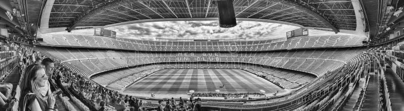 Panoramiczny widok Obozowy Nou stadium, Barcelona, Catalonia, Hiszpania fotografia royalty free