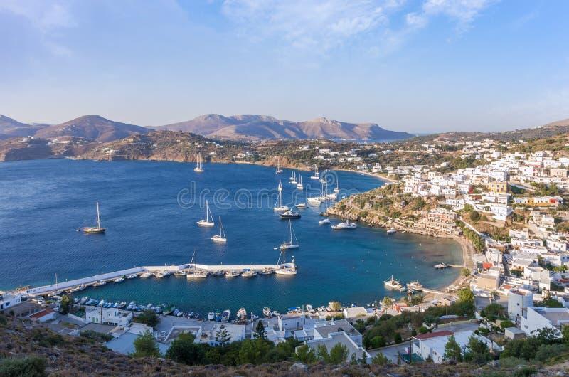 Panoramiczny widok od kasztelu Leros wyspa, Grecja fotografia royalty free