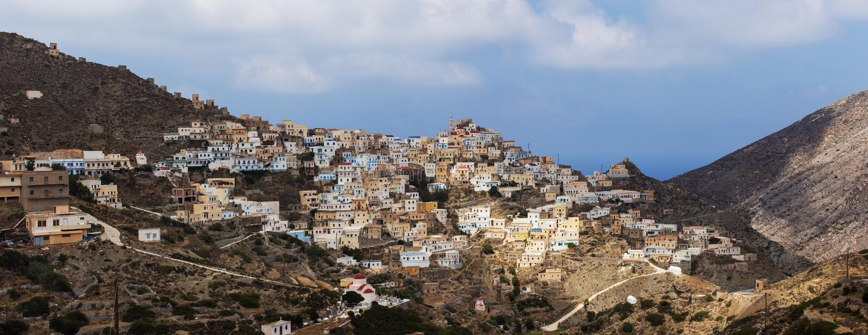 Panoramiczny widok Olympos w Karpathos wyspie, Dodecanese Grecja zdjęcie royalty free