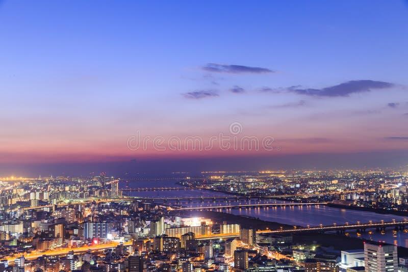 Panoramiczny widok Osaka od najwyższego piętra wysoki buildi zdjęcia royalty free