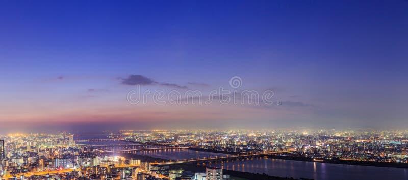 Panoramiczny widok Osaka od najwyższego piętra wysoki buildi obrazy stock