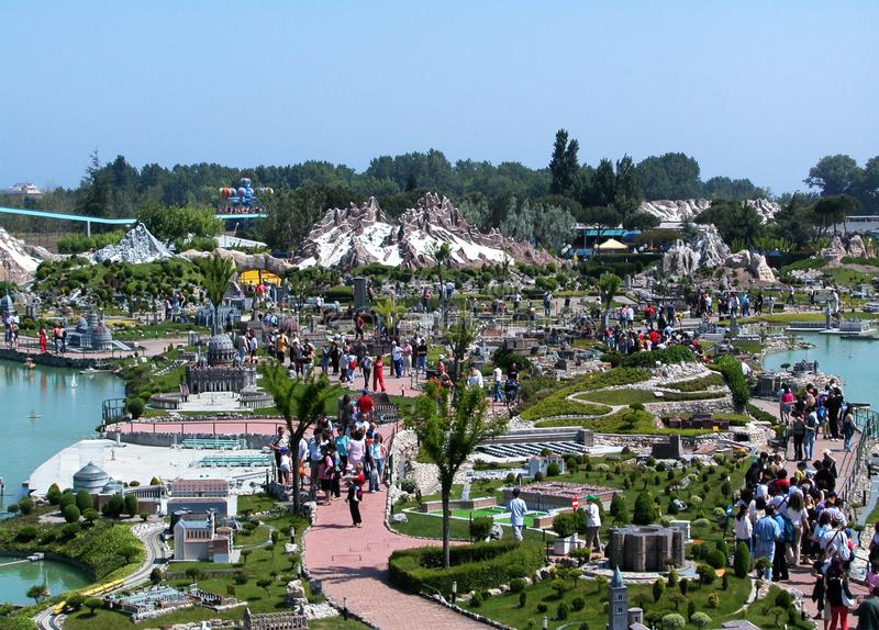 Panoramiczny widok park tematyczny «Włochy w miniaturowym «Italia w miniaturze Viserba, Rimini, Włochy obraz stock