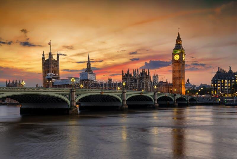 Panoramiczny widok parlament Londyn przy Westminister, Zjednoczone Królestwo fotografia stock