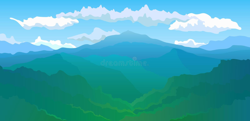 Panoramiczny widok pasmo górskie royalty ilustracja