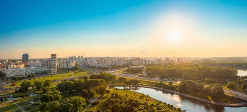 Panoramiczny widok, pejzaż miejski Minsk, Białoruś zdjęcia stock
