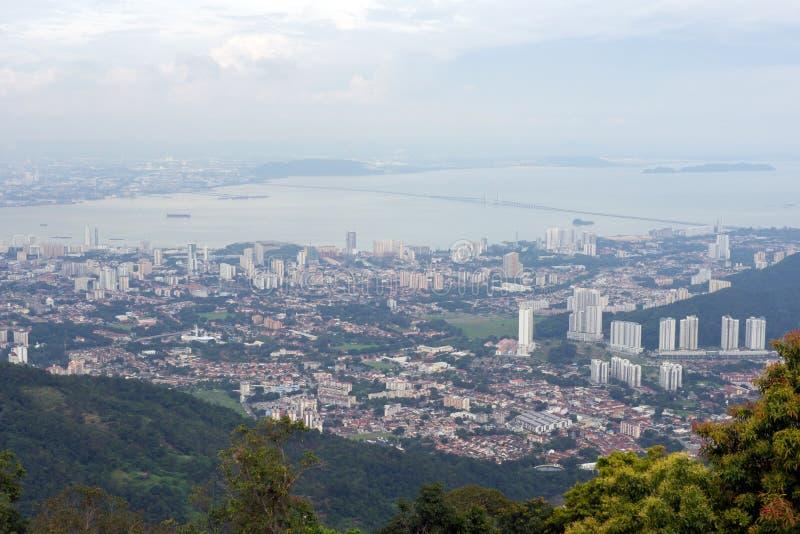 Panoramiczny widok Penang miasteczko od wierzchołka Penang wzgórze fotografia royalty free