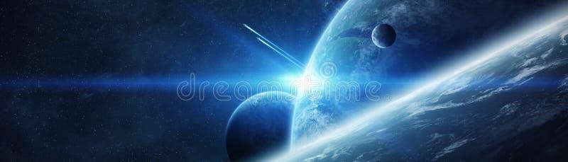 Panoramiczny widok planety w odległym układzie słonecznym 3D odpłaca się e ilustracji