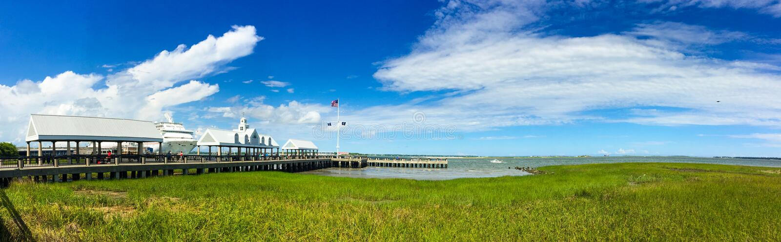 Panoramiczny widok port Charleston, SC obraz royalty free