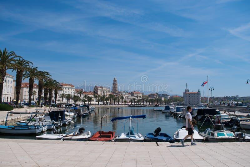 Panoramiczny widok port rozłam fotografia royalty free