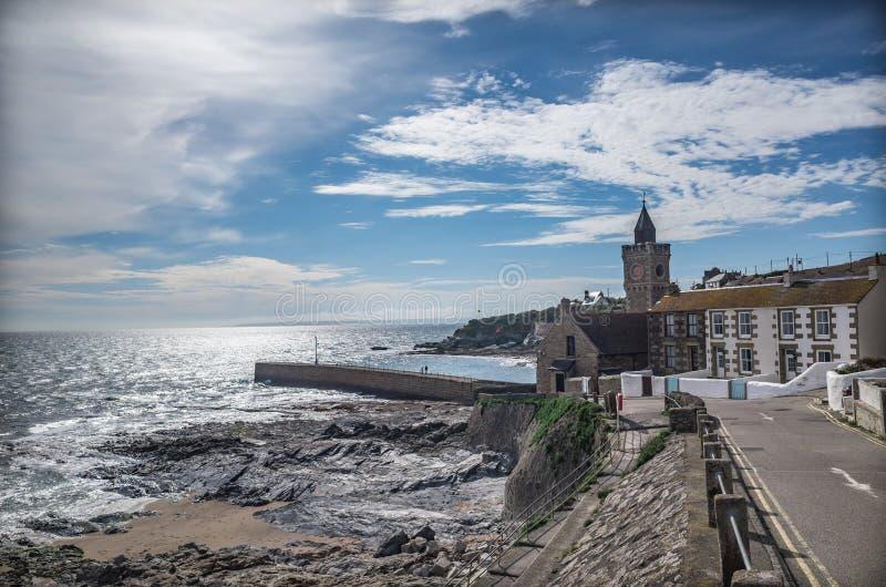 Panoramiczny widok Porthleven Cornwall wybrzeże Anglia obraz stock