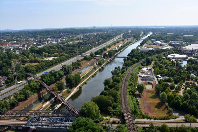 Panoramiczny widok Ruhr dolina, Niemcy obrazy royalty free