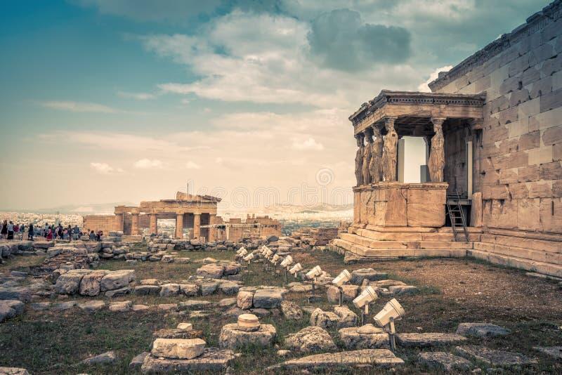 Panoramiczny widok ruiny na akropolu Ateny, Grecja obrazy stock