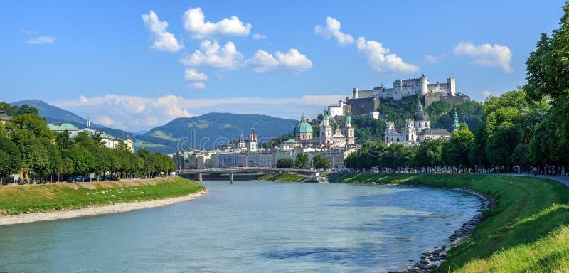 Panoramiczny widok Salzburg Stary miasteczko, Austria fotografia royalty free