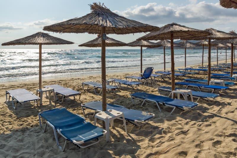 Panoramiczny widok Sarti plaża przy Sithonia półwysepem, Chalkidiki, Grecja obraz stock