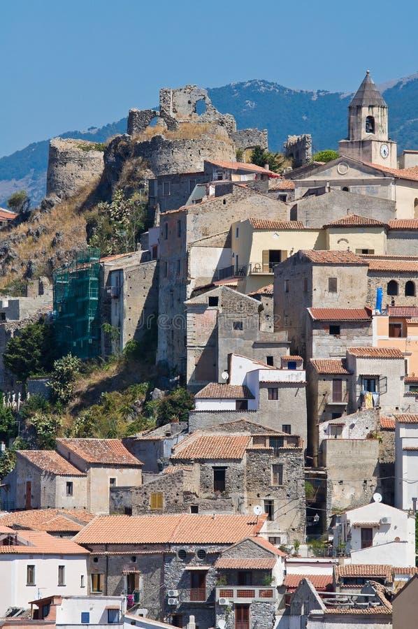Panoramiczny widok Scalea. Calabria. Włochy. zdjęcia royalty free