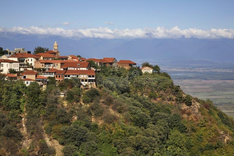 Panoramiczny widok Sighnaghi Kakheti Gruzja fotografia royalty free