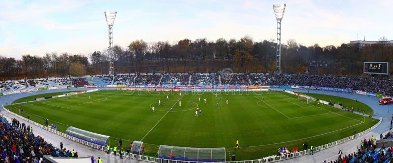 Panoramiczny widok stadium piłkarski obrazy royalty free