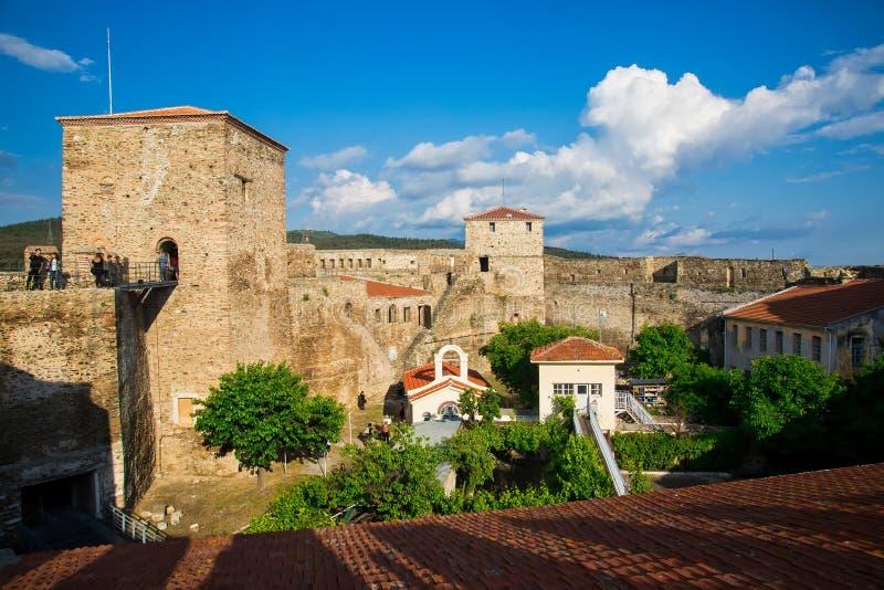 panoramiczny widok stary Bizantyjski kasztel w mieście Thessa fotografia stock
