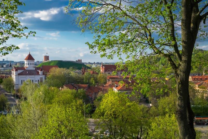 Panoramiczny widok stary miasteczko Vilnius, Lithuania obrazy stock
