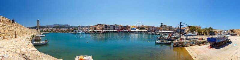 Panoramiczny widok stary venetian schronienie w Rethymno, Grecja obraz stock