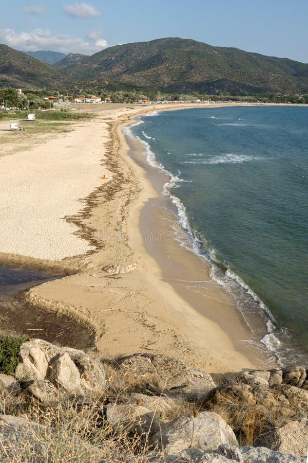 Panoramiczny widok Sykia plaża przy Sithonia półwysepem, Chalkidiki, Grecja zdjęcie royalty free