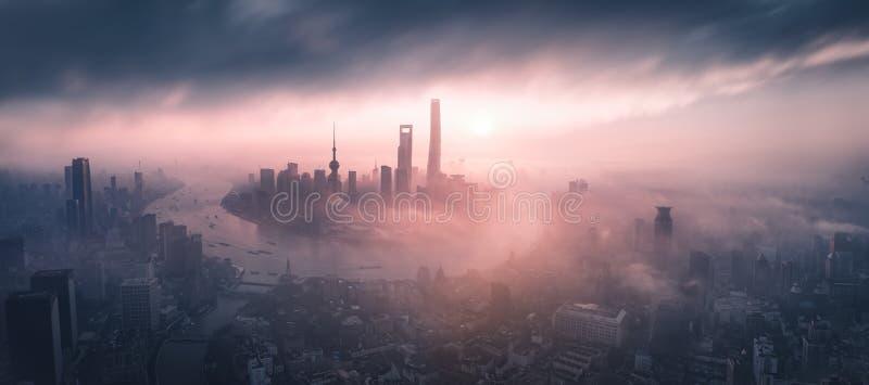 Panoramiczny widok Szanghaj Skyline zdjęcie stock