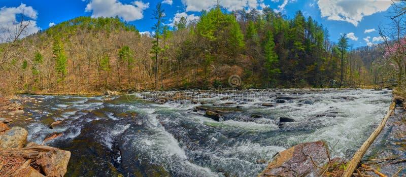 Panoramiczny widok Tellico rzeka zdjęcia stock