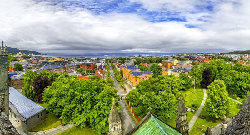 Panoramiczny widok Trondheim, Norwegia zdjęcie stock