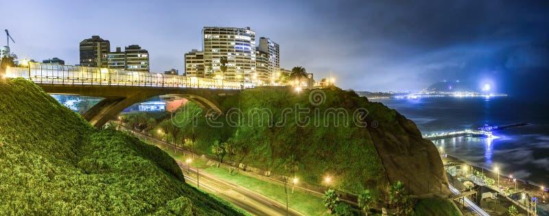 Panoramiczny widok Villena most w Miraflores zdjęcie stock