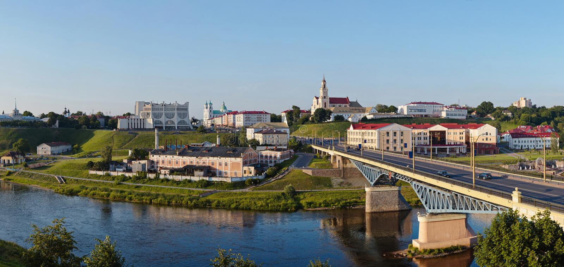 Panoramiczny widok w centrum Grodno Białoruś obrazy royalty free