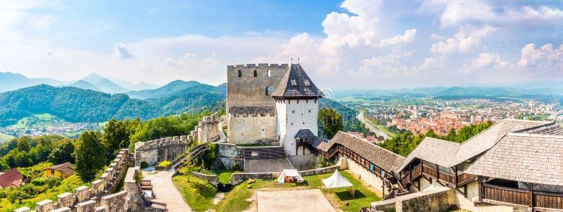 Panoramiczny widok w starym katoliku Celje z miastem w tle - Słowenia obrazy royalty free