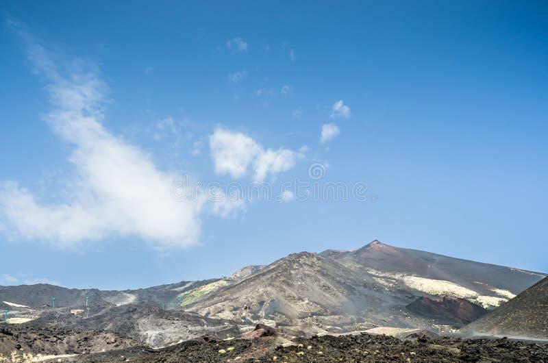 Panoramiczny widok wulkan Etna przeciw intensywnemu niebieskiemu niebu Horyzontalny widok środkowy krater Rząd ludzie próbuje fotografia stock