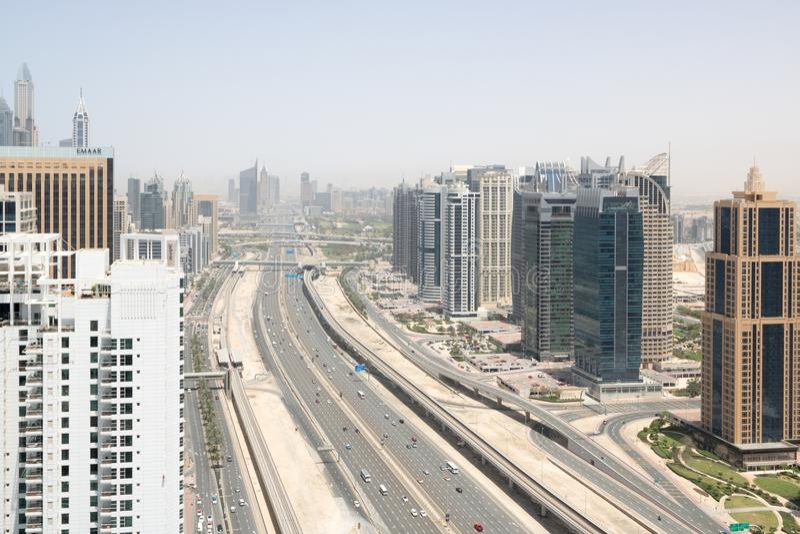 Panoramiczny widok z lotu ptaka Dubaj Sheik Zay zdjęcia royalty free