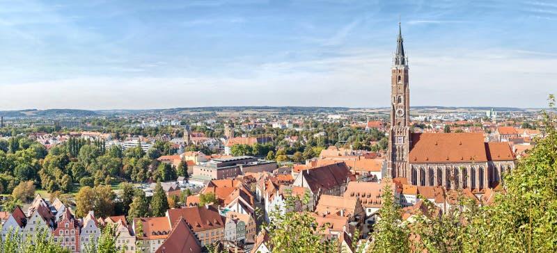 Panoramiczny widok z lotu ptaka Landshut fotografia royalty free