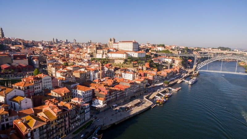 Panoramiczny widok z lotu ptaka Porto w pięknym letnim dniu, Portugalia obraz stock