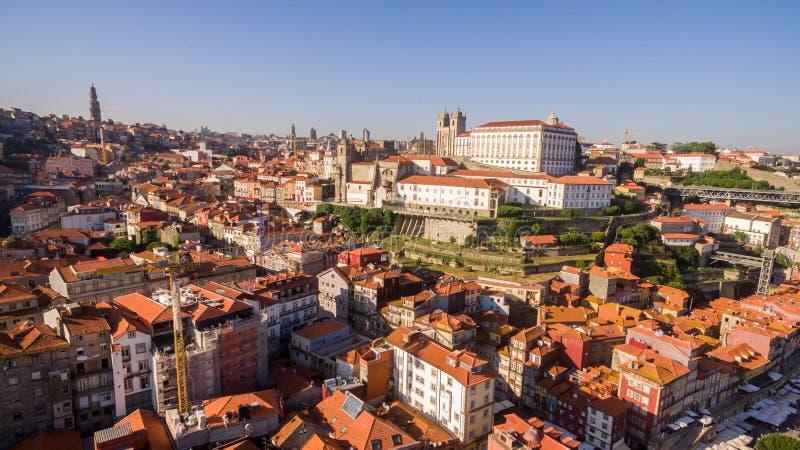 Panoramiczny widok z lotu ptaka Porto w pięknym letnim dniu, Portugalia zdjęcie royalty free