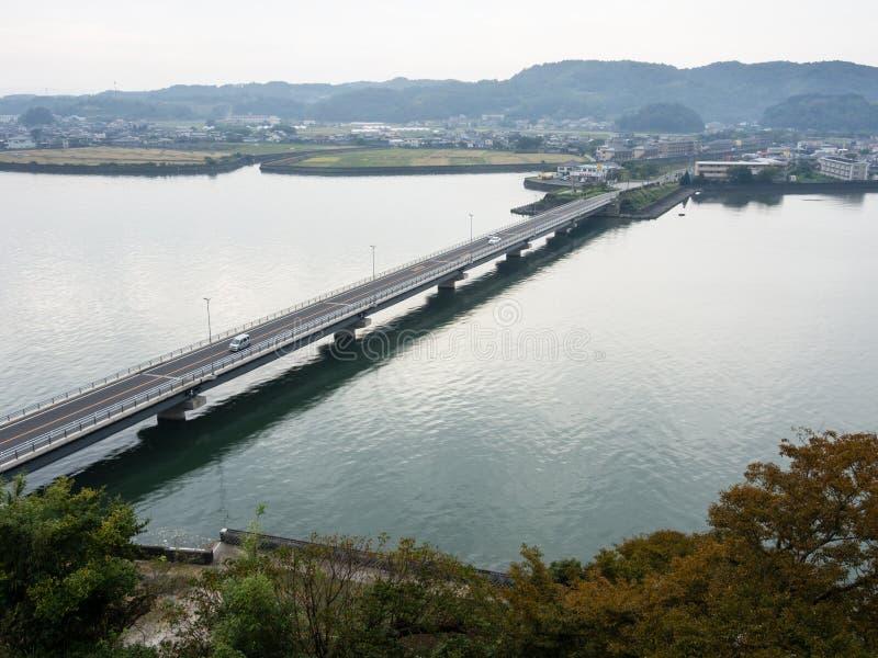 Panoramiczny widok z wierzchu Kitsuki kasztelu - Oita prefektura, Japonia fotografia royalty free