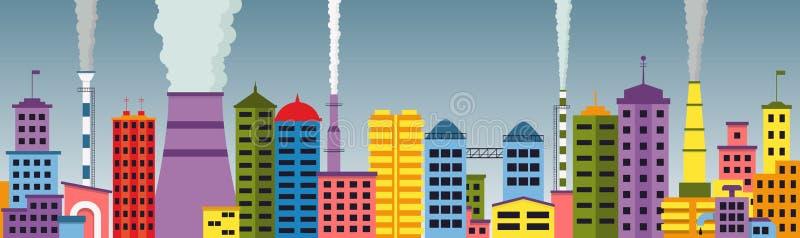 Panoramiczny widok zanieczyszczający miasto bezszwowy wzór royalty ilustracja