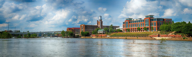 Panoramiczny wizerunek budynki w w centrum Kolumb, Gruzja obraz royalty free