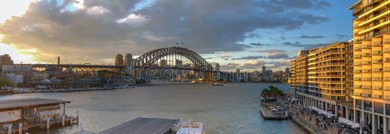Panoramiczny zmierzchu widok z lotu ptaka Sydney schronienie obrazy royalty free