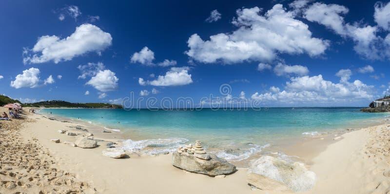 Panoramique de Saint Martin, Sint Maarten : Plages des Caraïbes photo stock