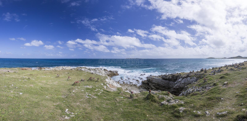 Panoramique de Saint Martin, Sint Maarten : Plages des Caraïbes photographie stock